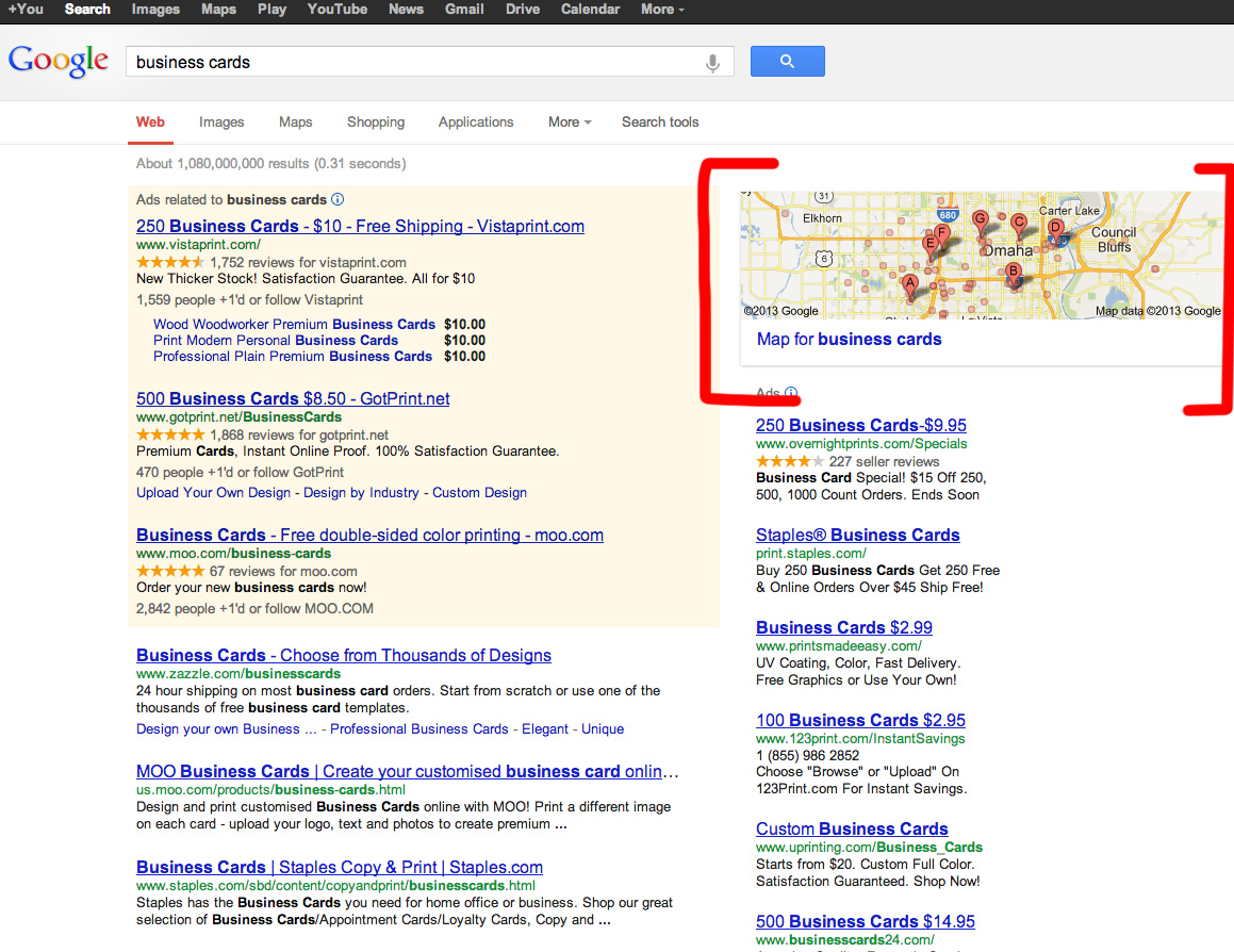 Local Search Engine Marketing and Business Cards